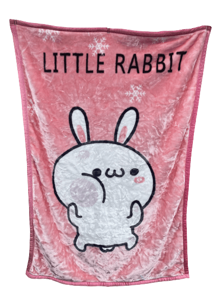 Little Rabbit Pink Cot Minky Blanket